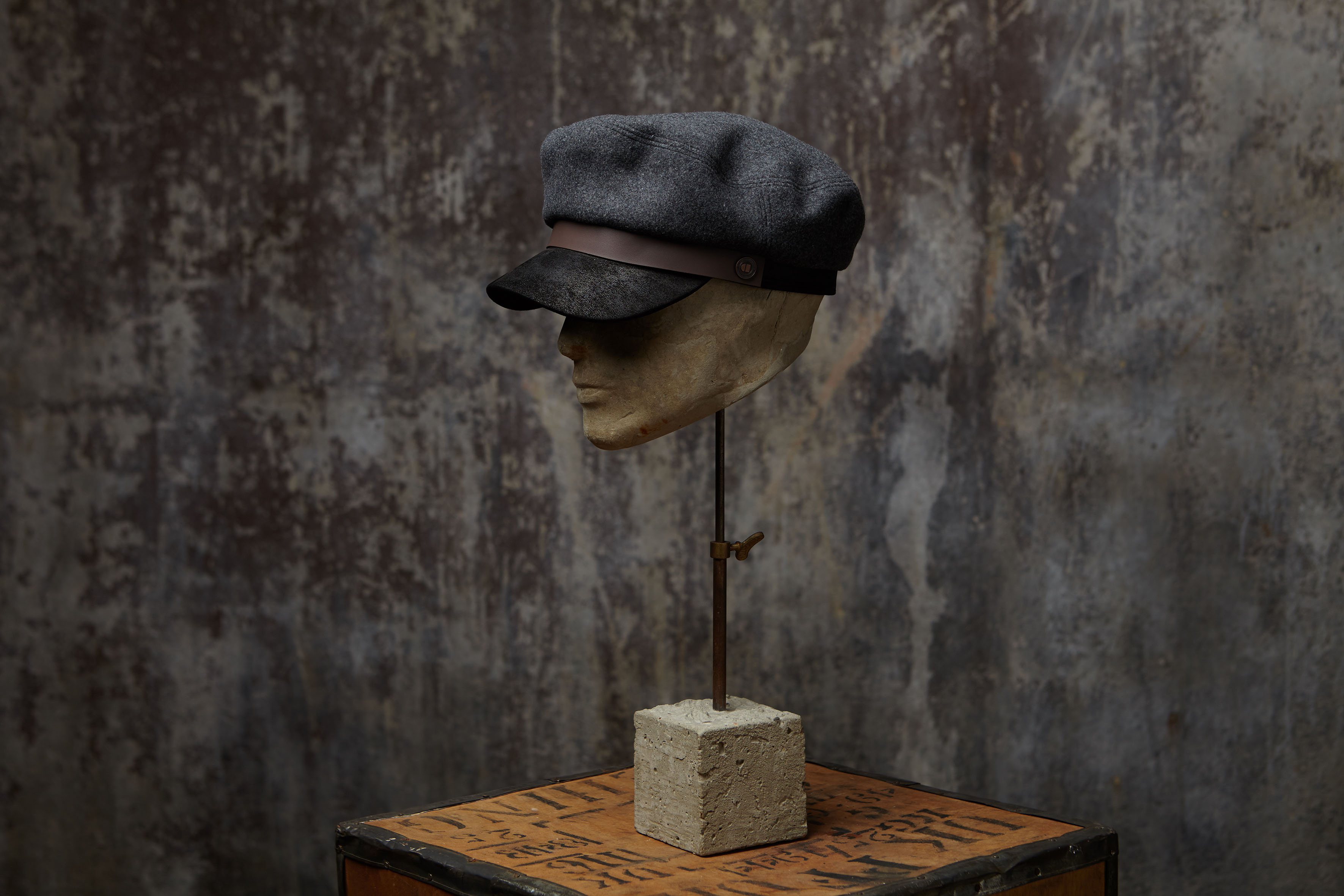 Jake Spitfire Brando Winter Wool Cap With Leather Peak
